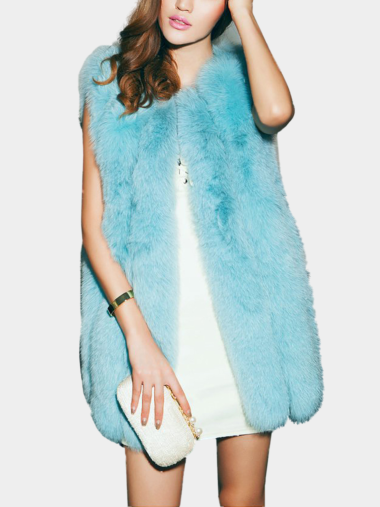 Sky Blue Artificial Fox Fur Gilet