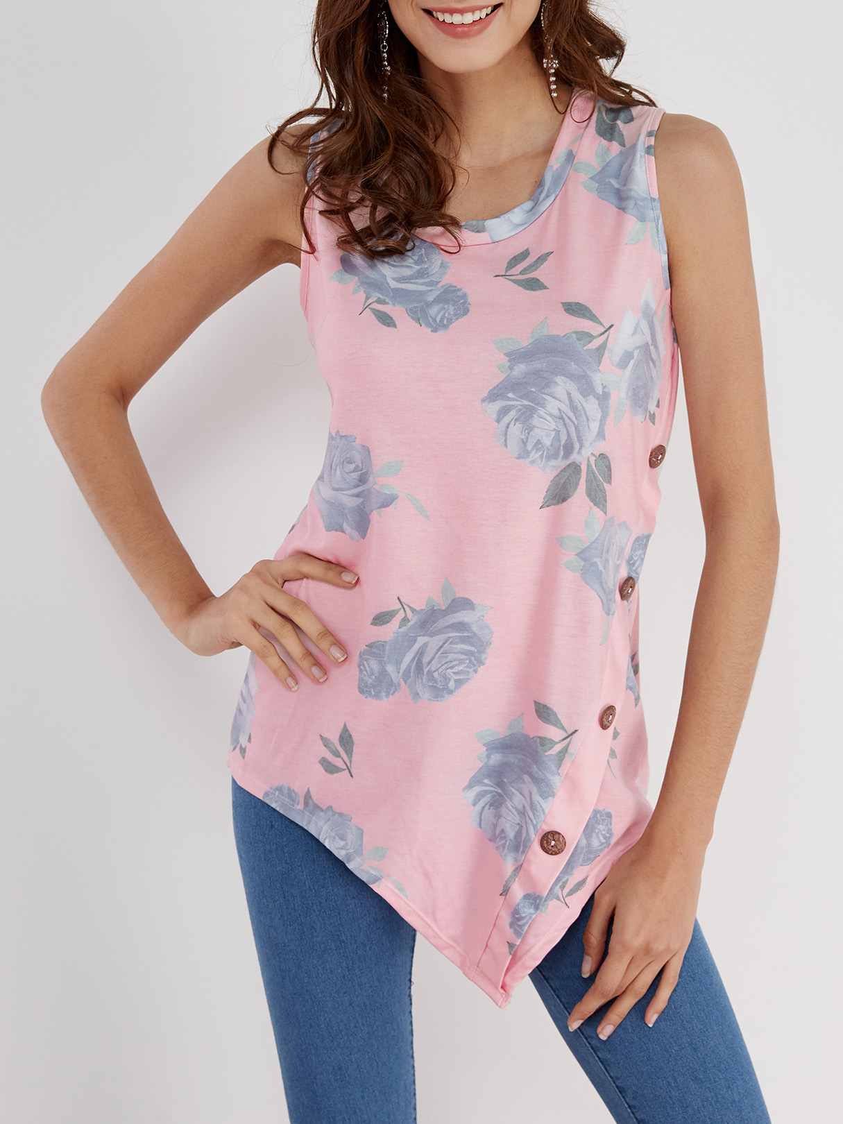 Pink Floral Print Round Neck Button-down Asymmetrical Top gathered neck floral sleeveless top