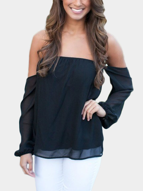 Black Off-the-shoulder Long Sleeves Chiffon Blouse black off shoulder crochet lace loose fit chiffon blouse
