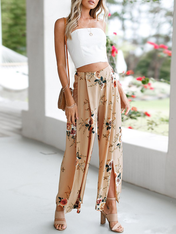 Khaki Floral Print Slit Design Side Zipper Wide Leg Pants