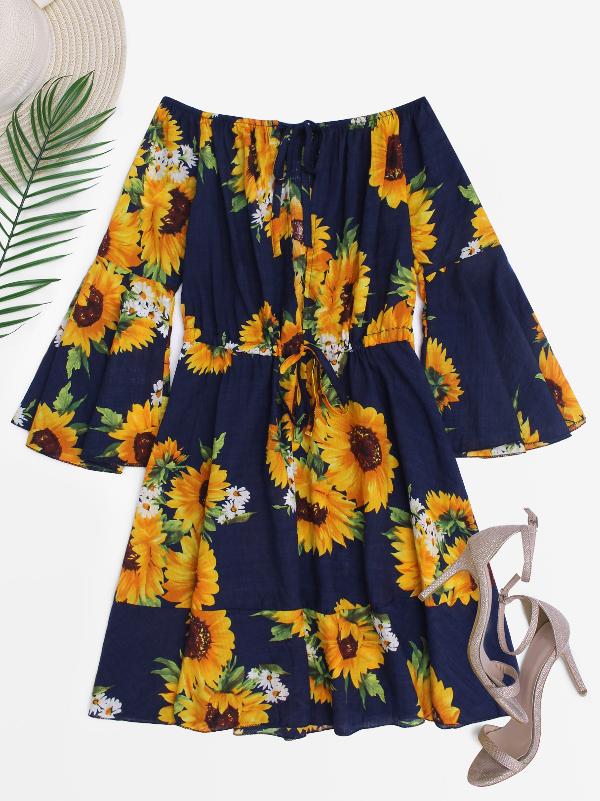Random Floral Print Chest Cut Out Off Shoulder Bell Sleeves Mini Dress stylish off the shoulder lemon print girl s mini dress