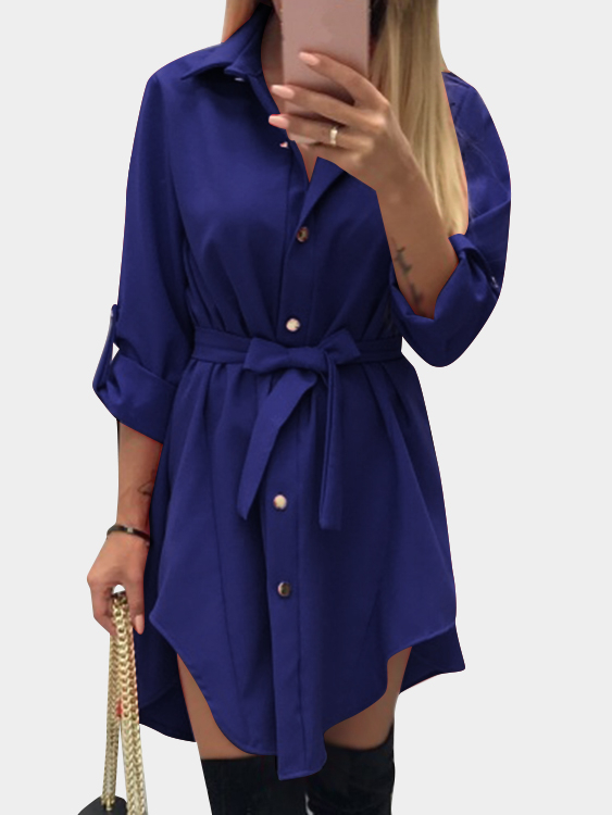 Blue Self-tie Basic Collar Buttoned Front, Long Sleeves Mini Shirt Dress