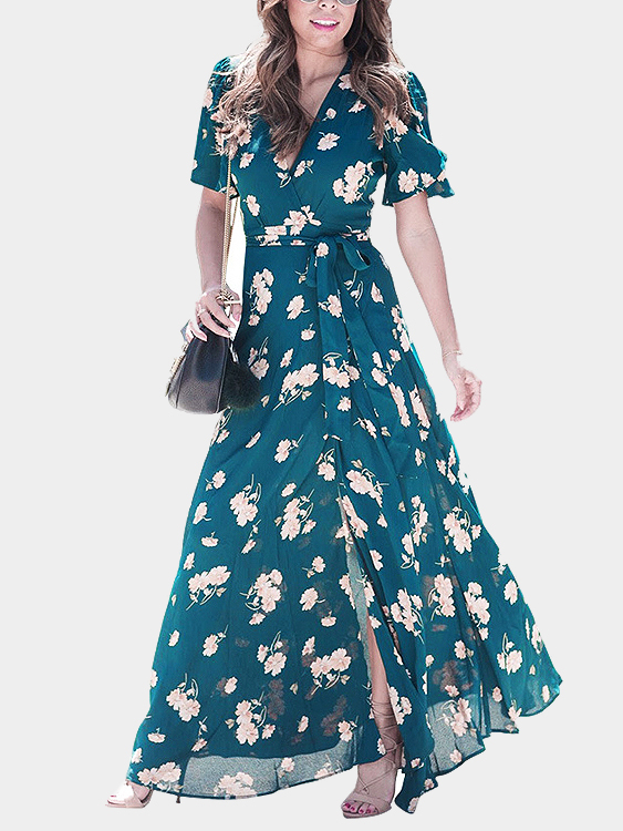 Green Random Floral Print V-neck Splited Hem Maxi Dress