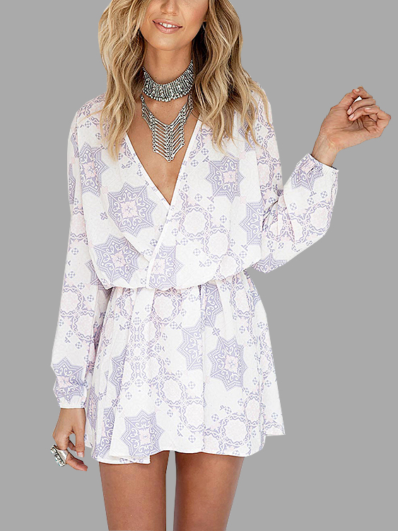 Random Floral Pattern Wrap Front Long Sleeves Mini Dress