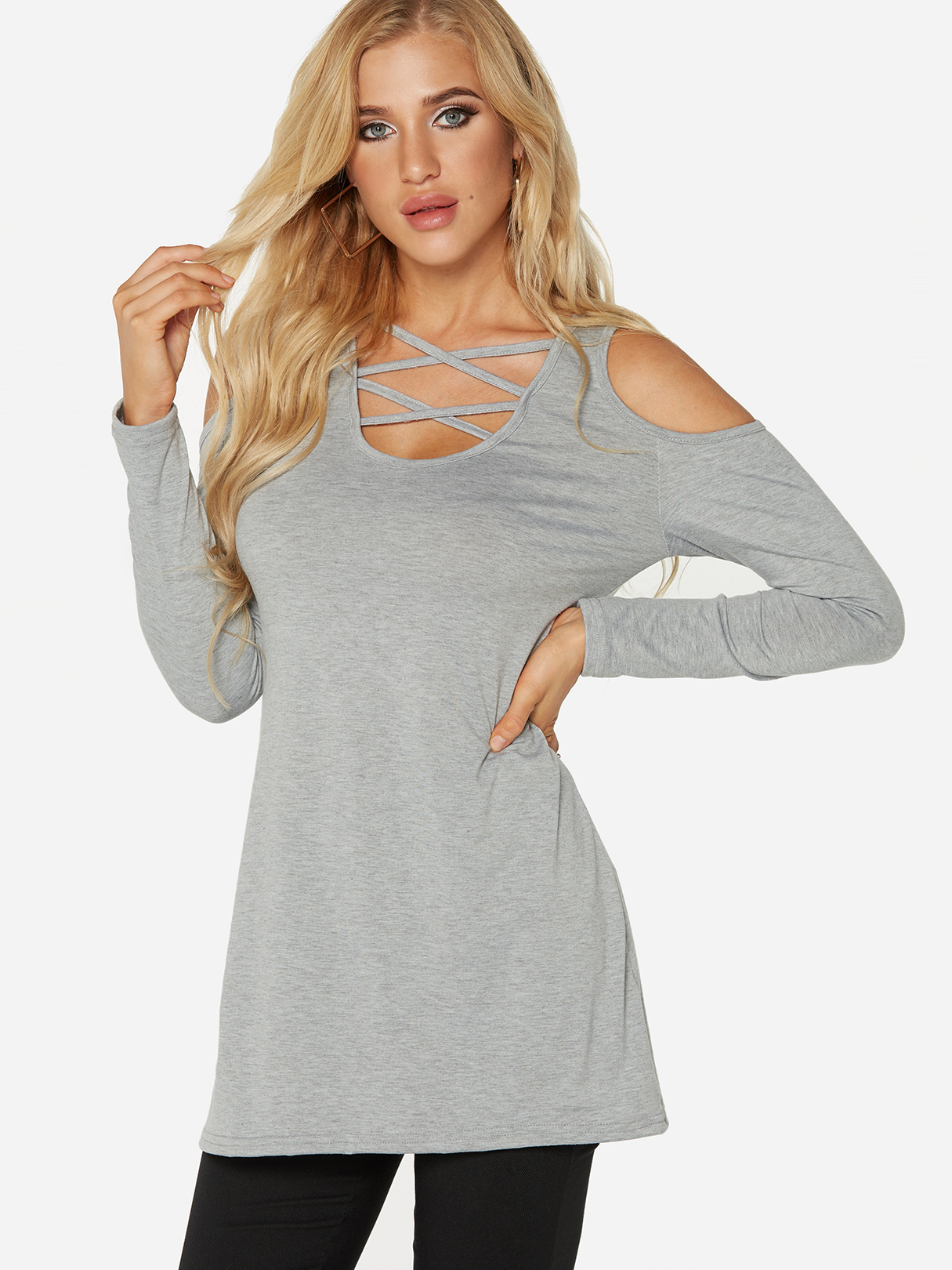 Grey Cut Out Design Cold Shoulder Long Sleeves T-shirts grey sleeveless design chest cut out top