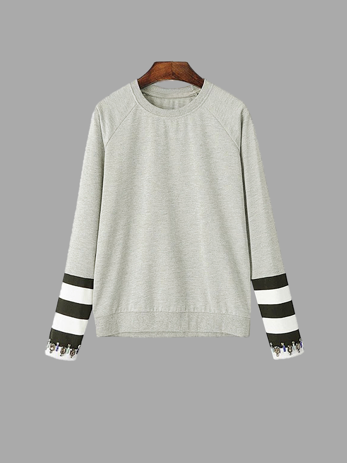 Stripe Sleeve Sweatshirt with Diamante Embellishment