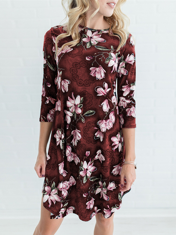 Red Random Floral Print 3/4 Length Sleeves Midi Dress uv lamps replaces atlantic ultraviolet gap64t5l 4 amalgam it is 190 watts 1554 mm in in length