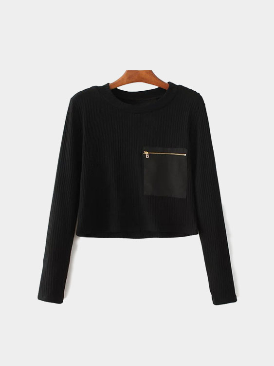 Zipper and Pocket Decorative Long Sleeves Crew Neck Crop Blouse