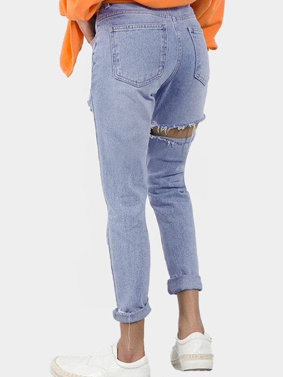 Casual High Waist Butt Rips Details Jeans in Blue