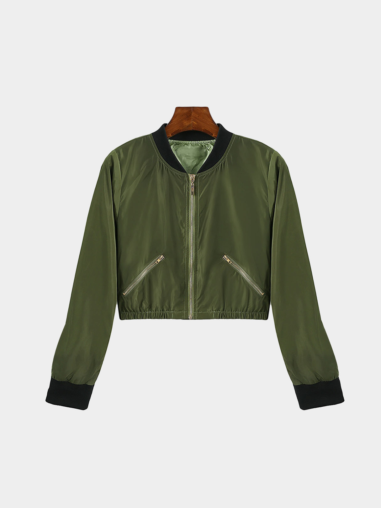 Army Green Chimney Collar Zipper Front Jacket With Side Zippers