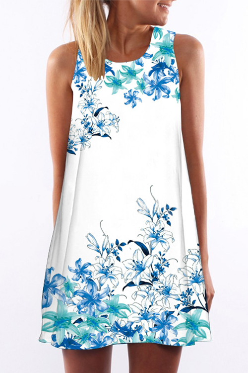 Random Floral Print Round Collar Sleeveless Mini Dress