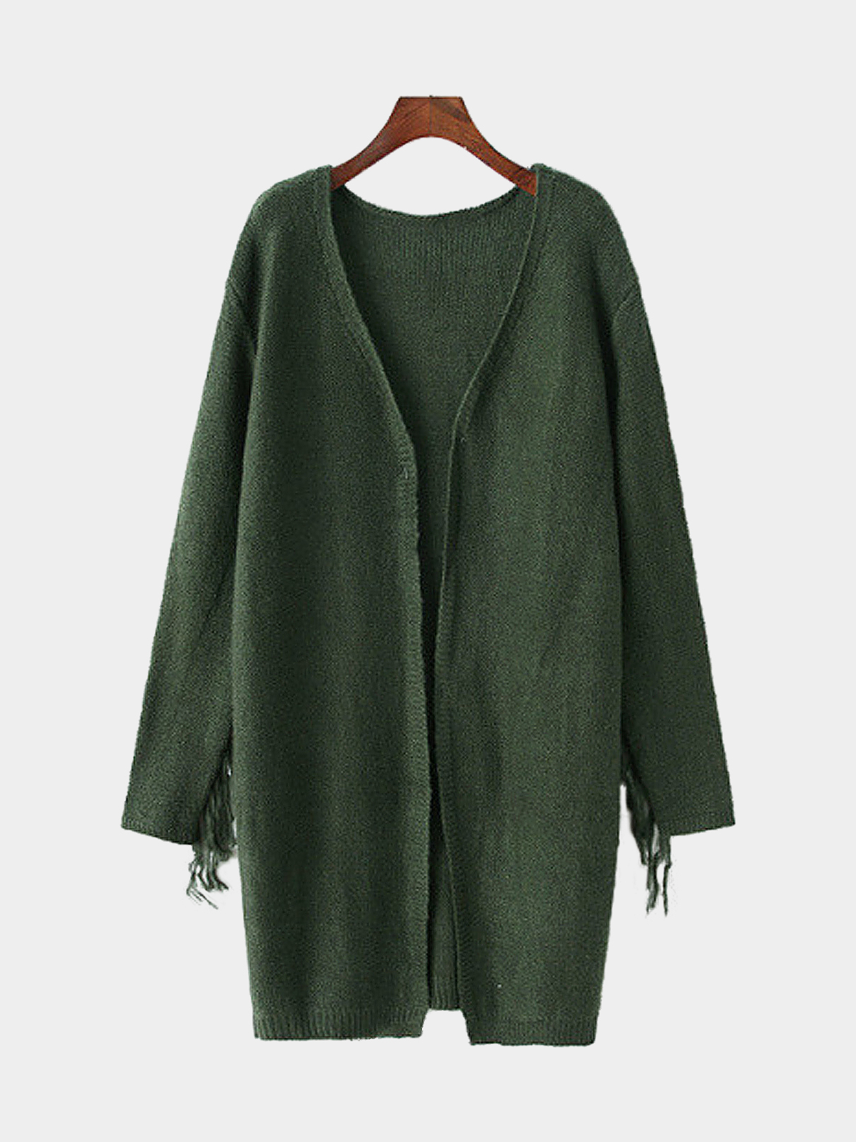 Fringed Longline Cardigan in Olive Green