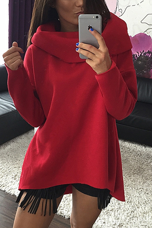 Red High Neck Irregular Hem Casual Sweatshirt