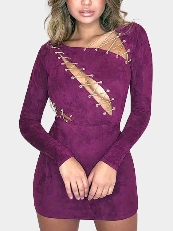 Purple Lace-up Zip Back Long Sleeves Suede Mini Dress zip back fit and flared plaid dress