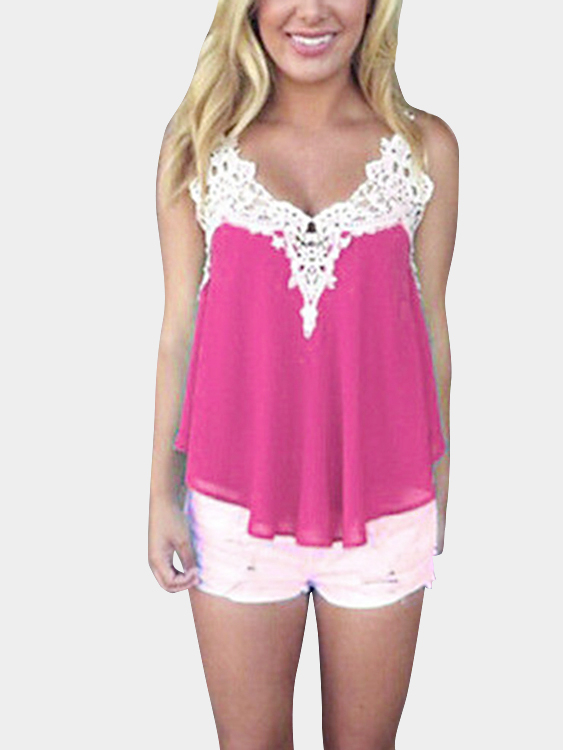 Rose Chiffon Crochet Hollow Cami Top