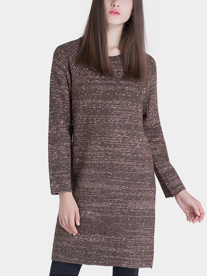 Long Sleeves Knitted Dress in Coffee
