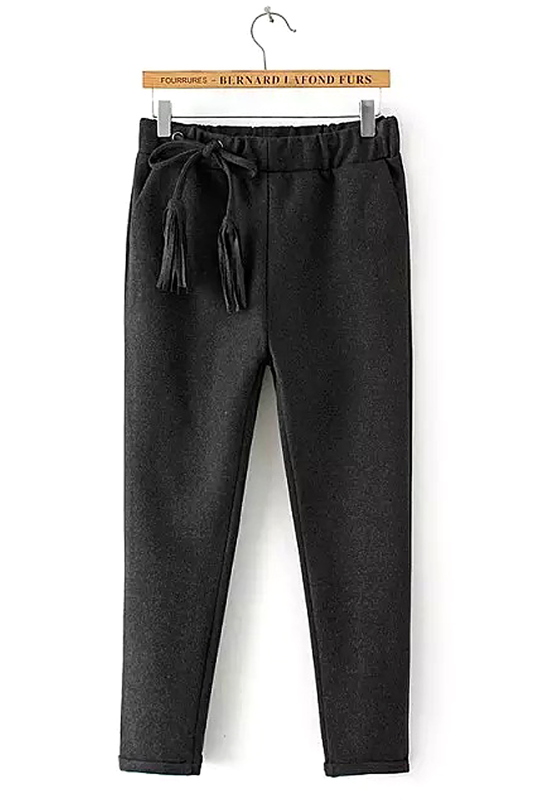 Drawstring Tapered Trousers in Dark Grey