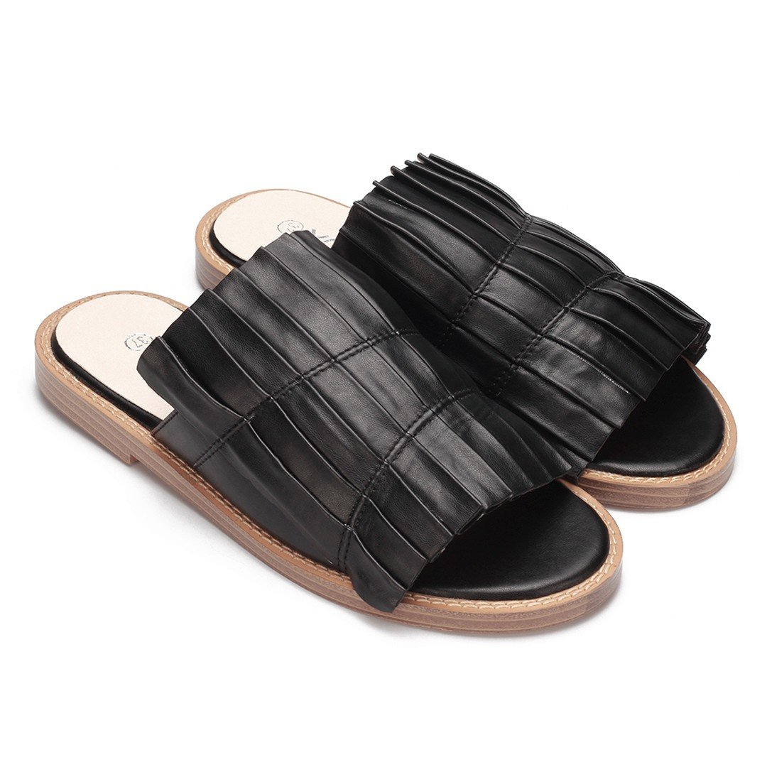 Black Leather Look Pleated Flat Slippers