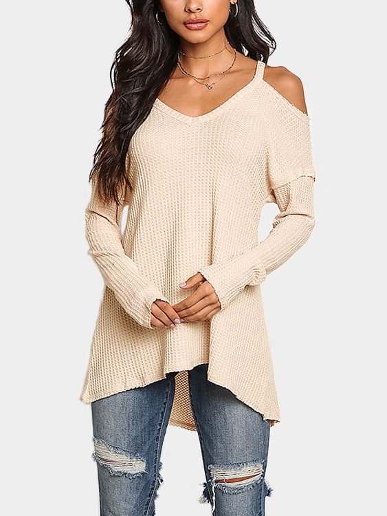 Beige Cold Shoulder Long Sleeves Knitted Top
