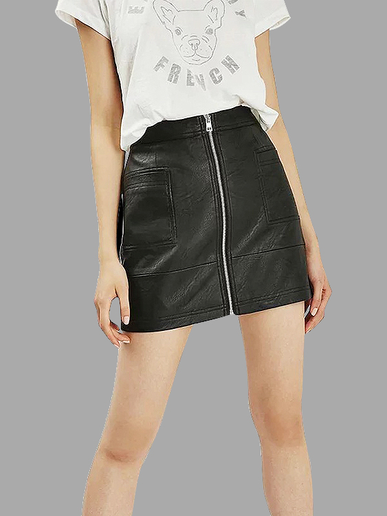 Black Leatherette Mini Skirt with Zipper front
