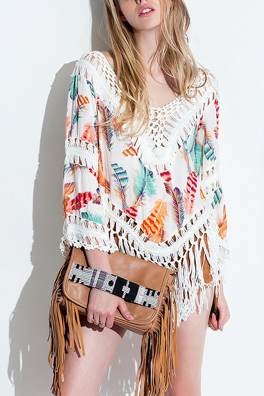 Folk Blouse with Tassel Fringe