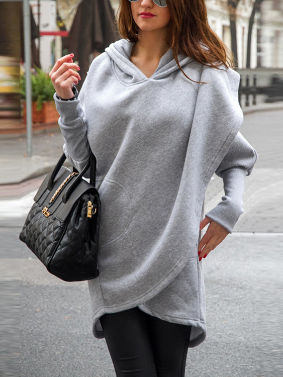Grey Front Wrapped Hoodie Trench Coat от Yoins.com INT