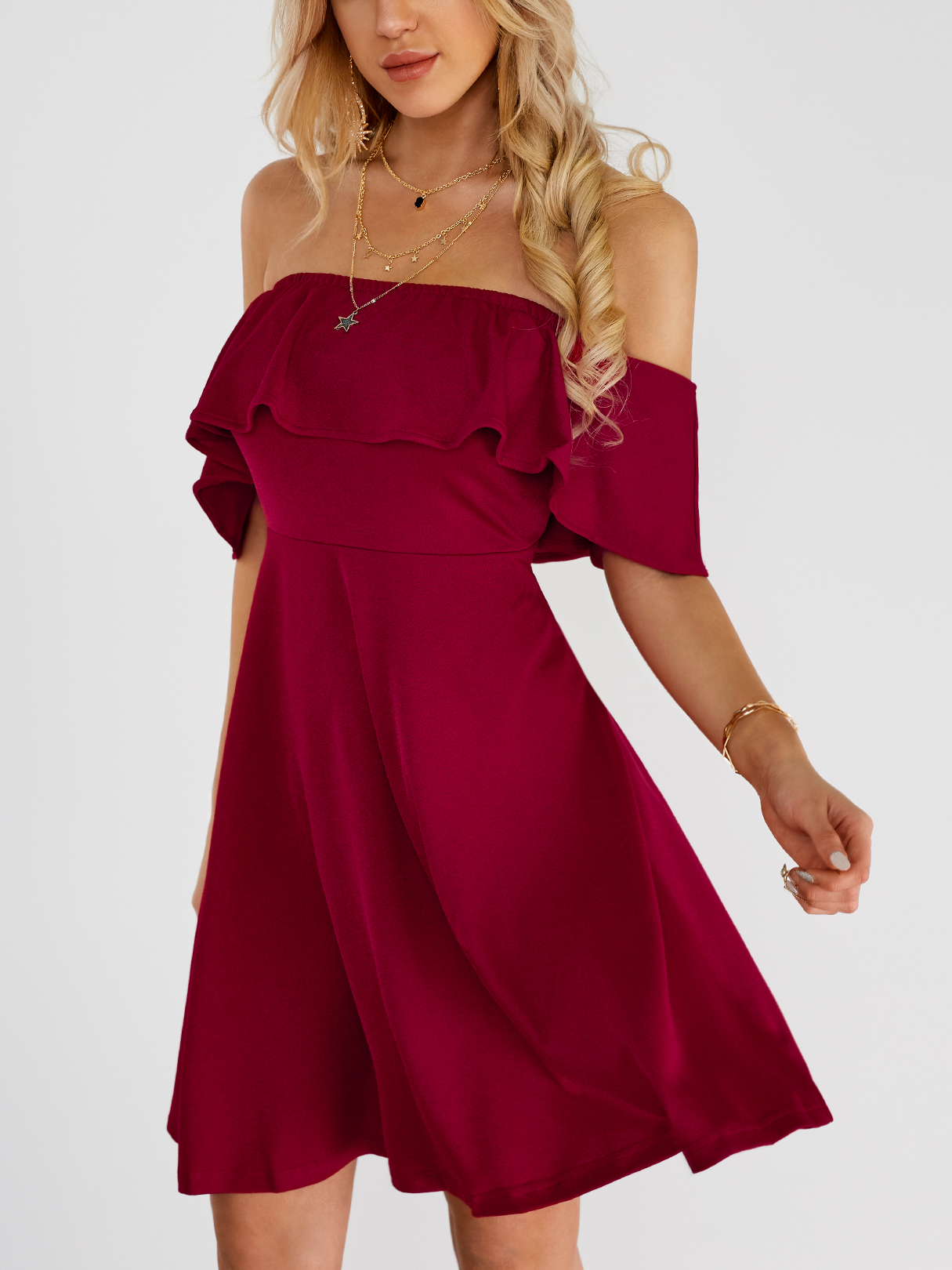 Red Off-the-shoulder Overlay Backless Mini Dress cute off the shoulder lemon dress for women