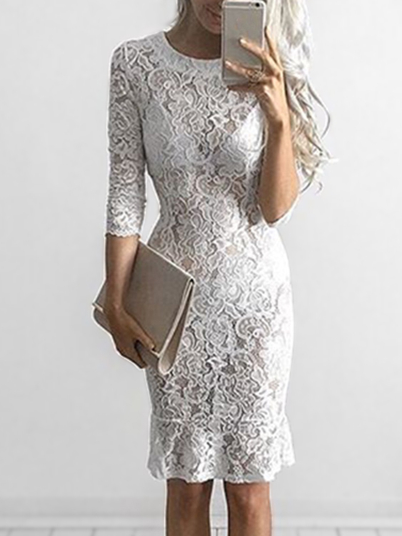 White See-through lace Midi Dress zip back fit and flared plaid dress
