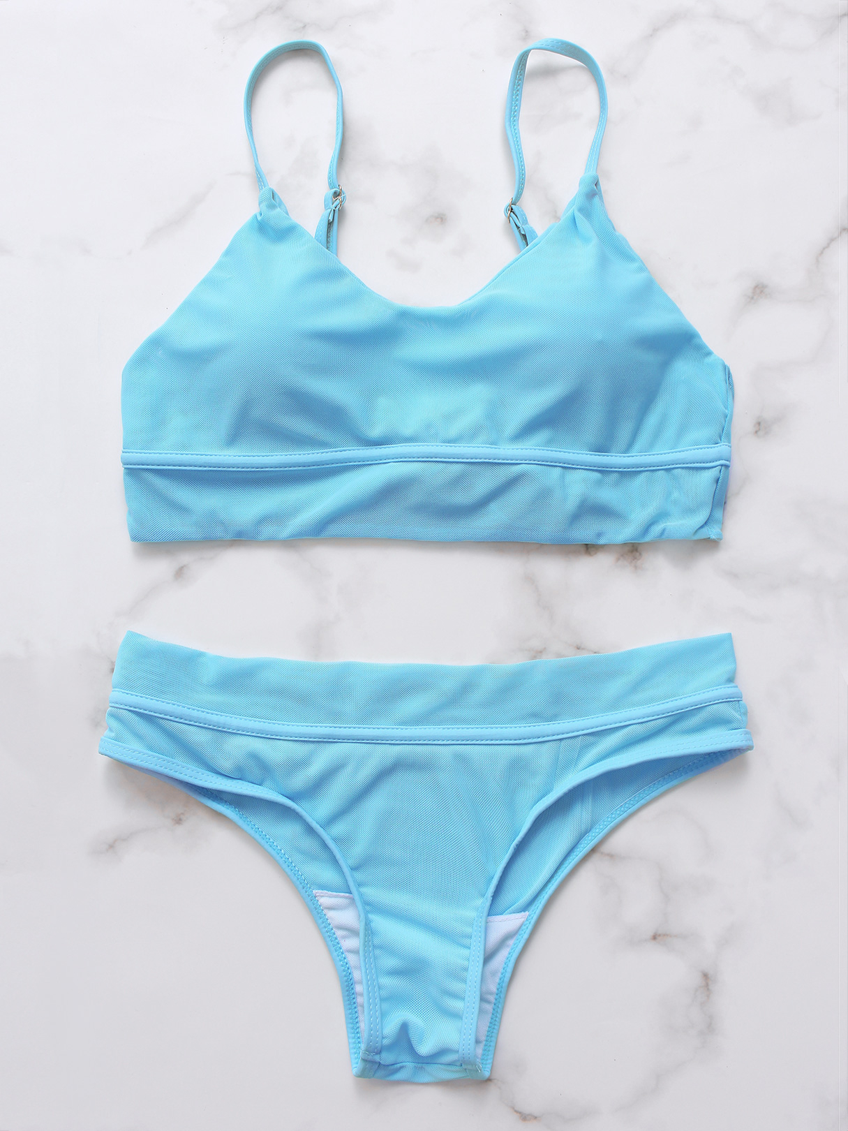 Blue Mesh Criss-cross Back High Waist Bikini Set criss cross back padded camisole