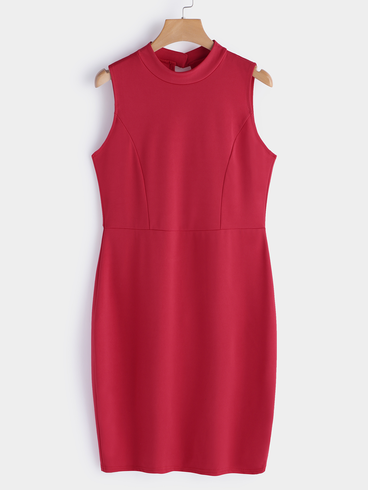 Red Hollow Out Backless Round Neck Bodycon Fit Dress