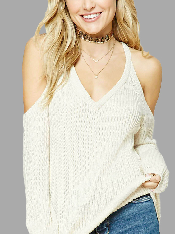 White V-Neck Cold Shoulder Long Sleeves Sweaters от Yoins.com INT