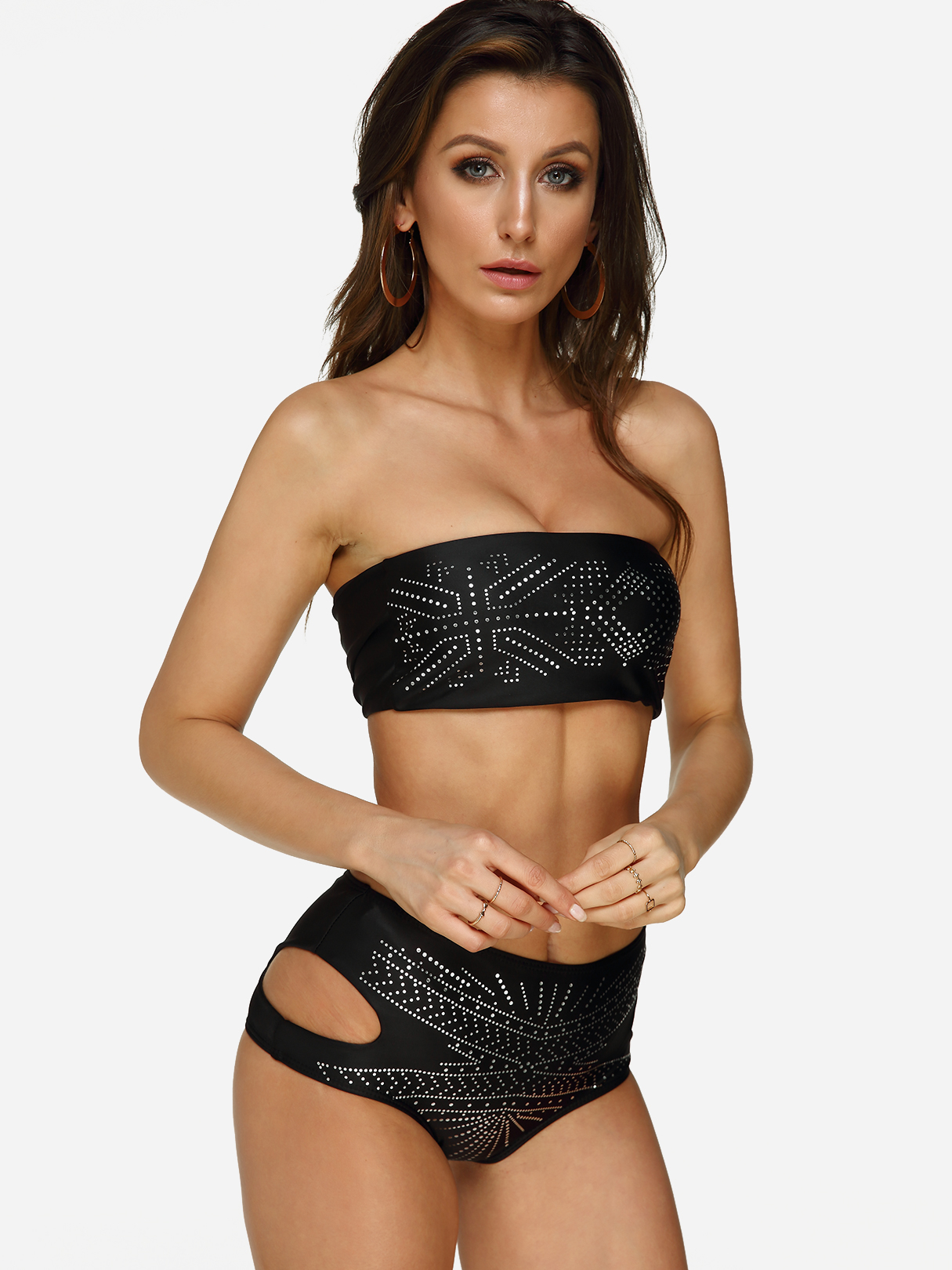 Black Rhinestone Design High-waisted Cutout Bandeau Bikini Set lg ms2043hs