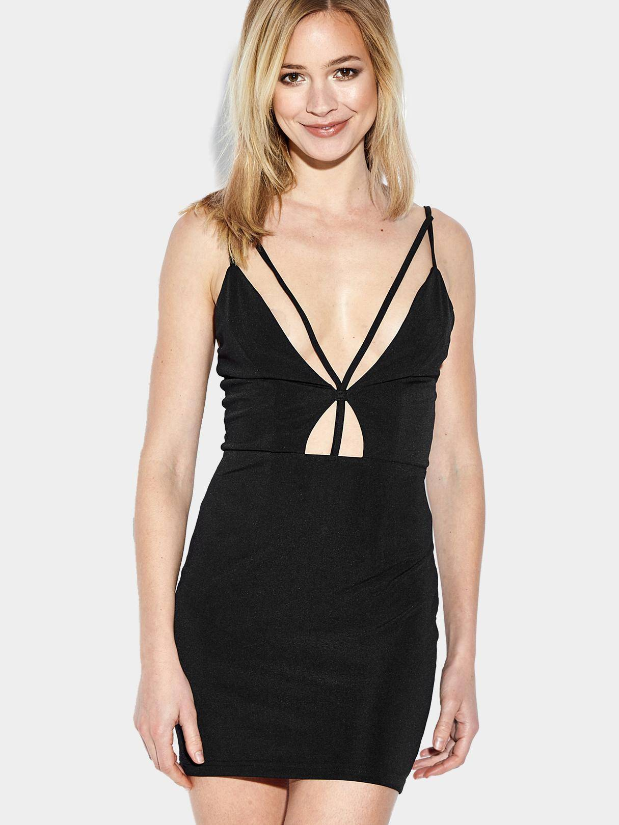 Black V-neckline Sleeveless Bodycon Mini Dress