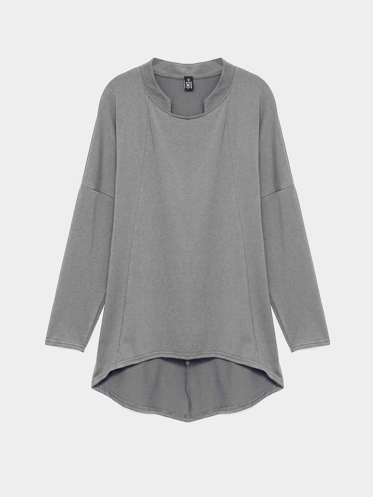 Plus Size Long Sleeve Top with Curved Hem in Dark Grey