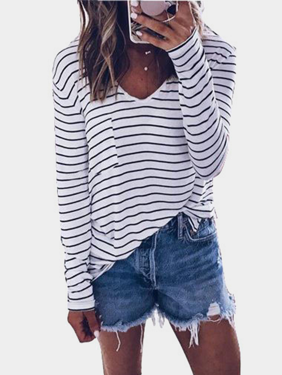 Black & White Stripe Front Pocket Basic T-shirt black and white stripe pattern pullover shirt