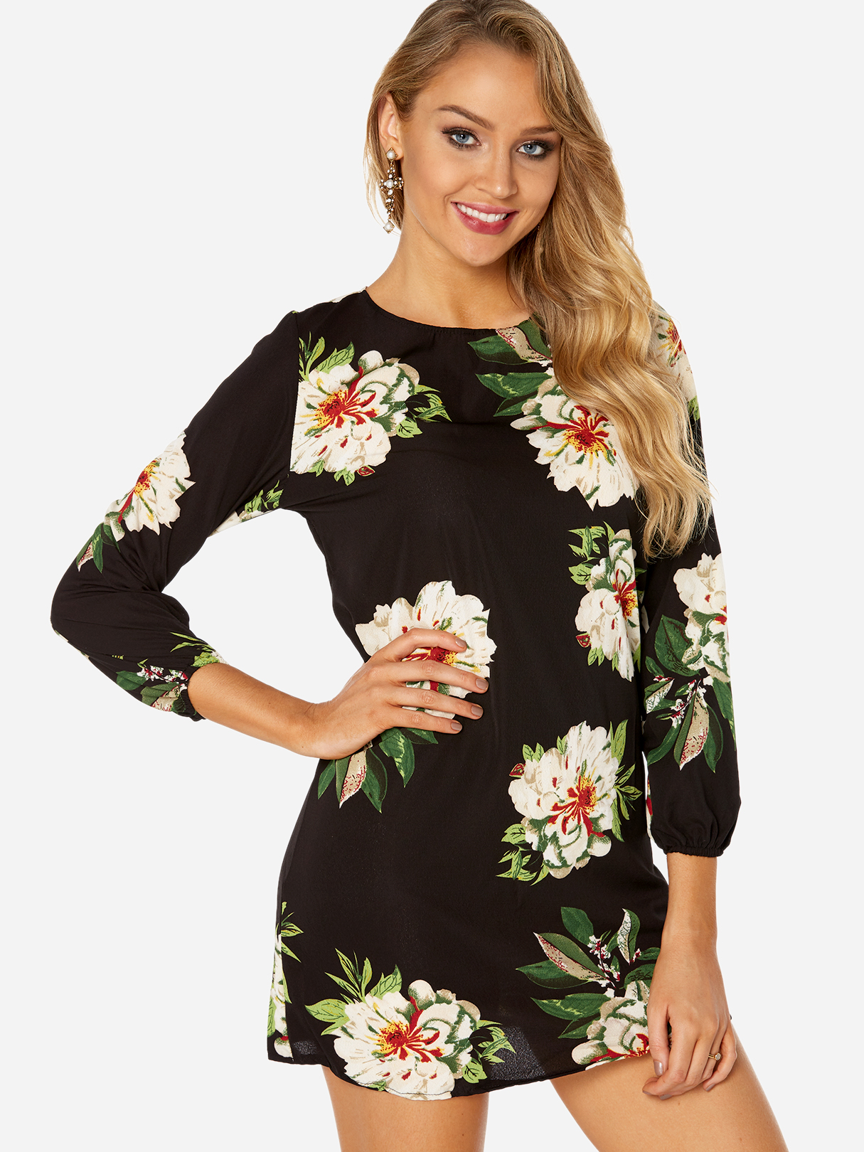 Black Random Floral Print Round Neck Long Sleeves Tie-up at Back Dress holy communion dresses ball gown long sleeves lace back button solid o neck flower girl dresses vestido de daminha actual image