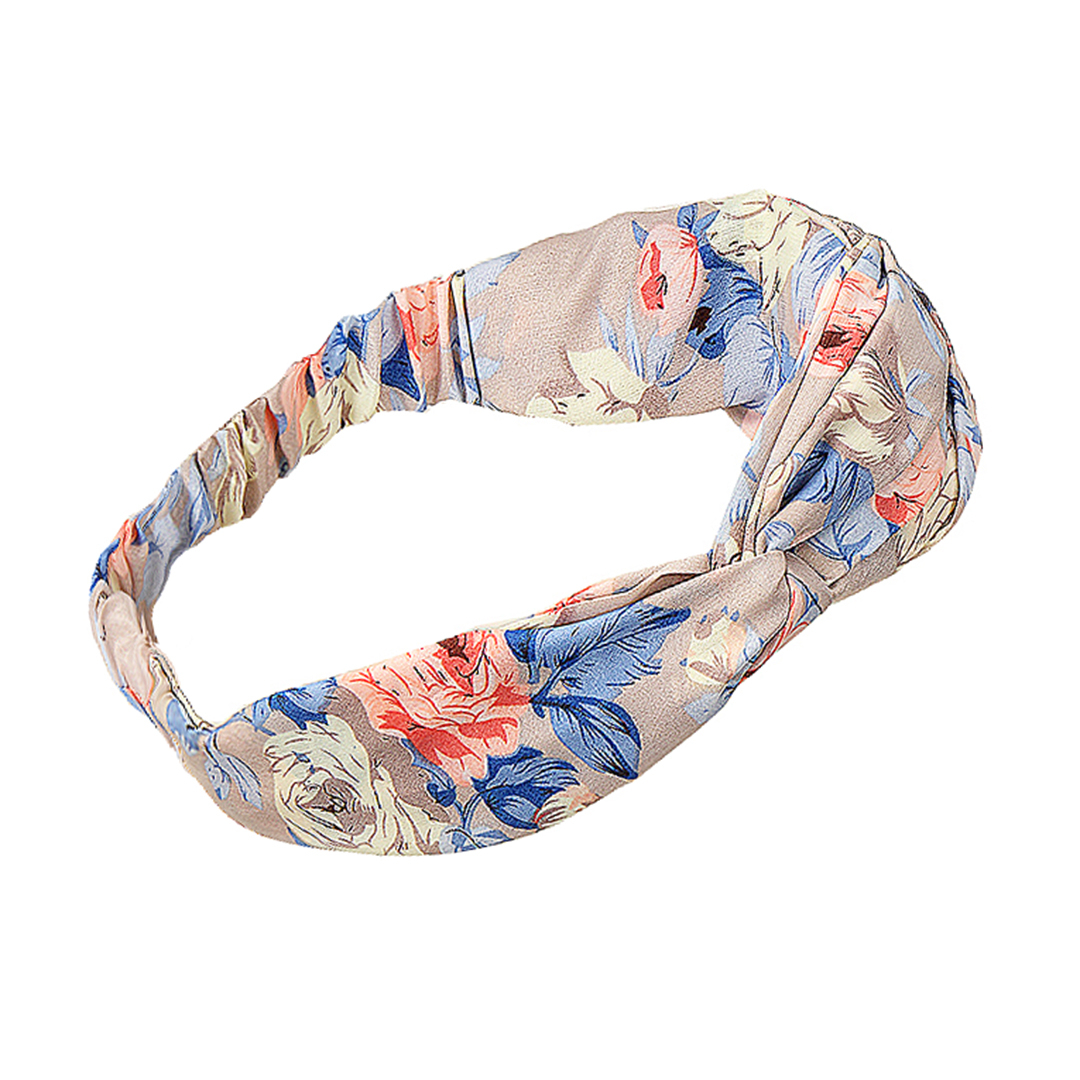 Floral Print Twisted Headband in Grey