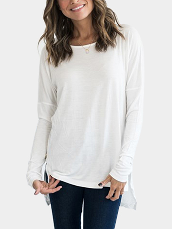 White Round Neck Long Sleeves Slit Hem Top dark grey slit side wide v neck long sleeves knitted top