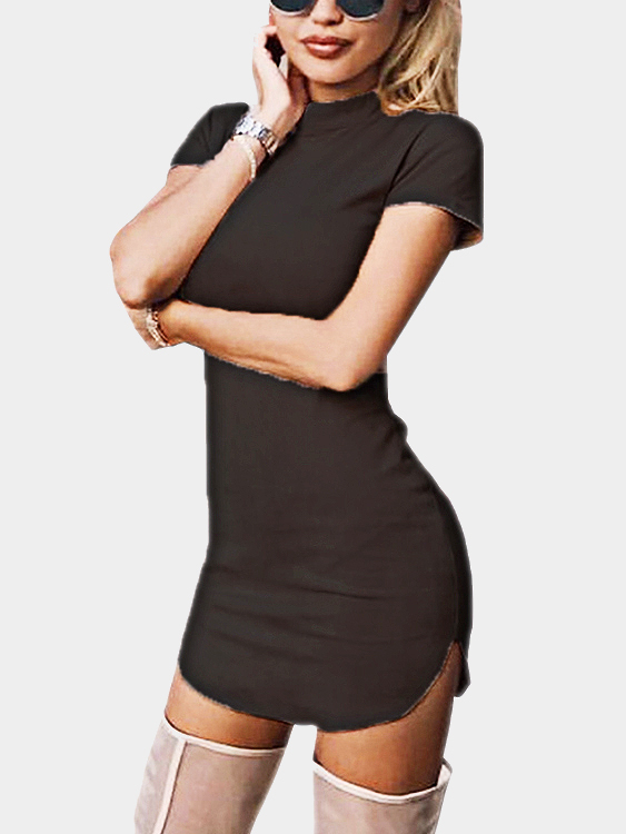 Black Suede Round Neck Short Sleeves Curved Hem Mini Dress