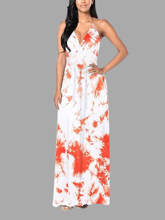 Sexy Orange Floral Print Deep V-neck Backless Maxi Dress