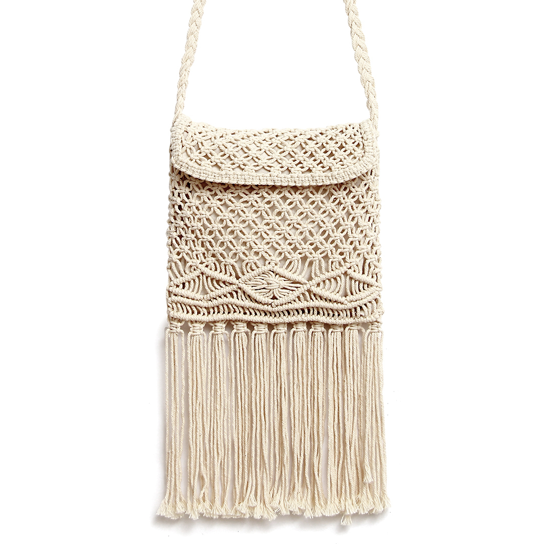 Beach Crochet Fringed Flap Over Crossbody in Beige
