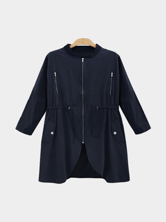 Navy Trench Coat With Drawstring Waist