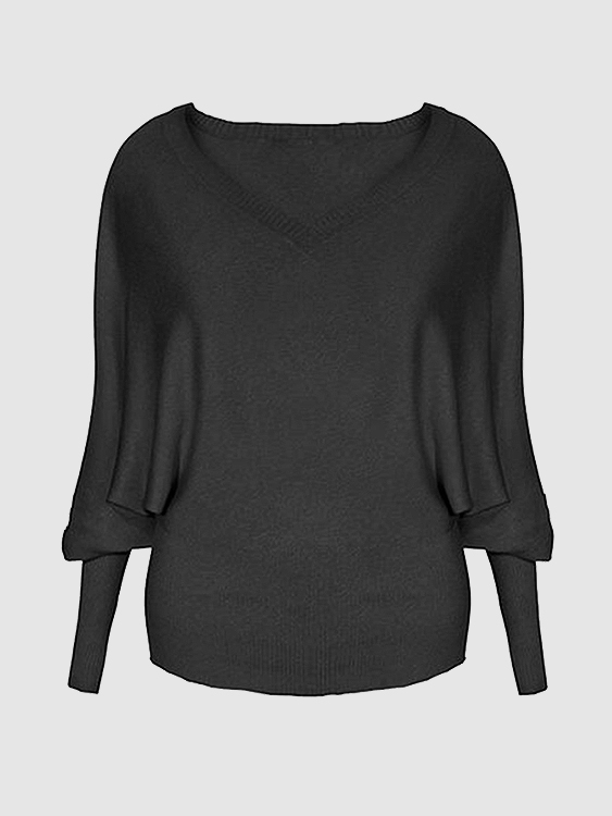 Grey Casual V Neck Bat Sleeves Knit Sweater