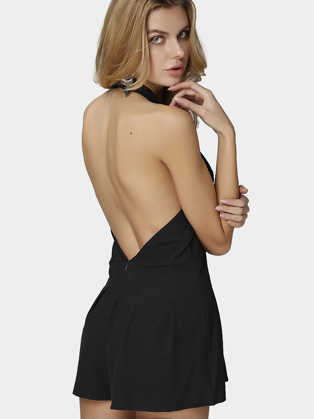Plunge Sleeveless Backless Halter Playsuit in Black red backless sleeveless halter playsuit