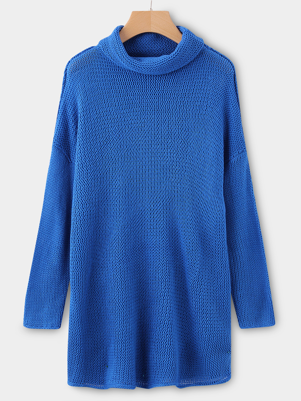 Blue Roll Neck Long Sleeves Sleeves Dropped Shoulder Sweater
