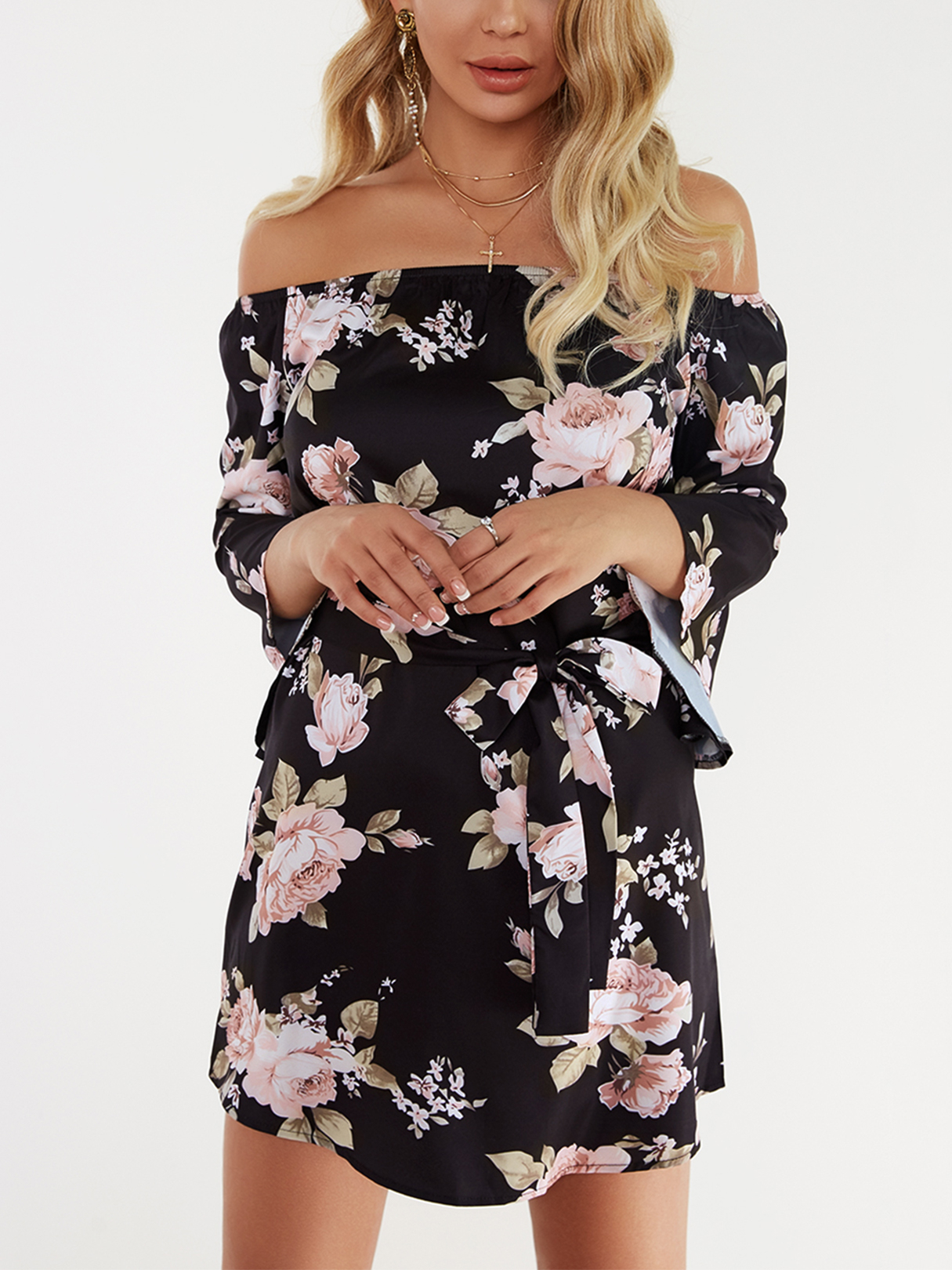 Black Lace-up Design Floral Print Off The Shoulder Long Sleeves High-waisted Dress trendy floral print off the shoulder mini dress for women