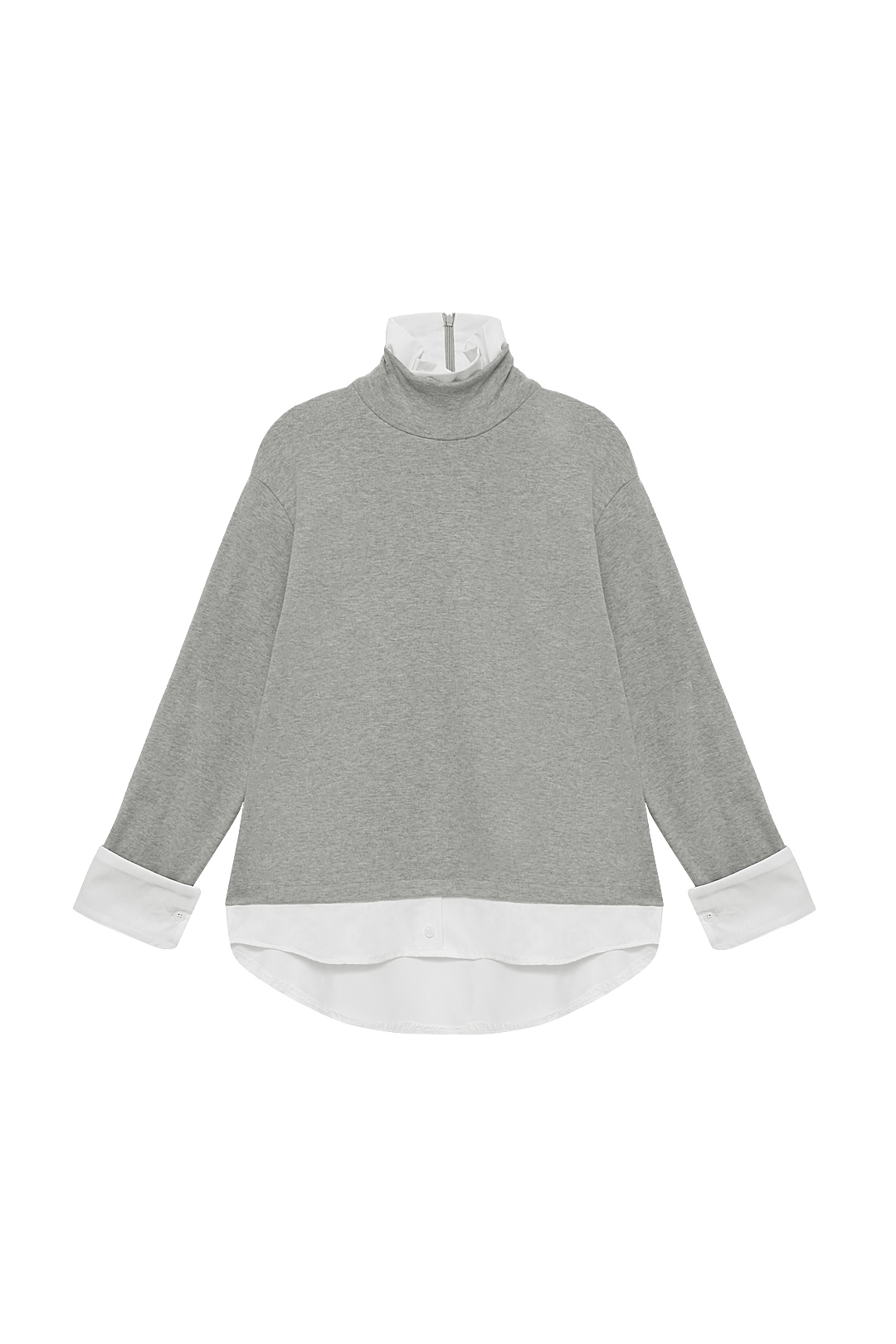 Plus Size Light Grey Two-in-one Shirt Knitwear