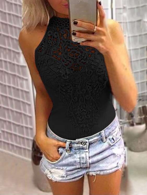 Black Sexy Floral Lace Overlay Hollow Out Halter Neck Sleeveless Bodysuit hollow out bodysuit