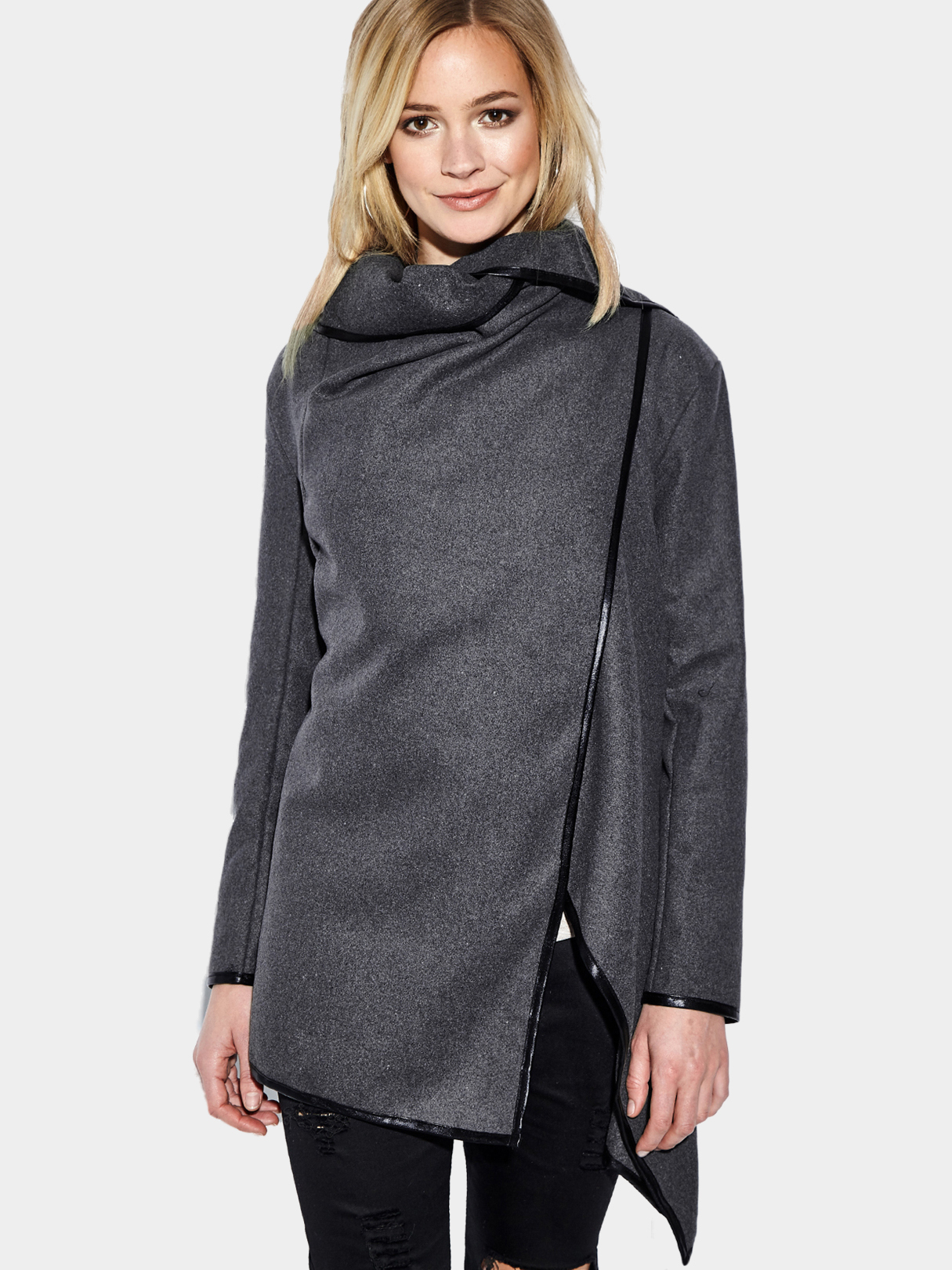 Gray High Neck Front Wrapped Trench Coat