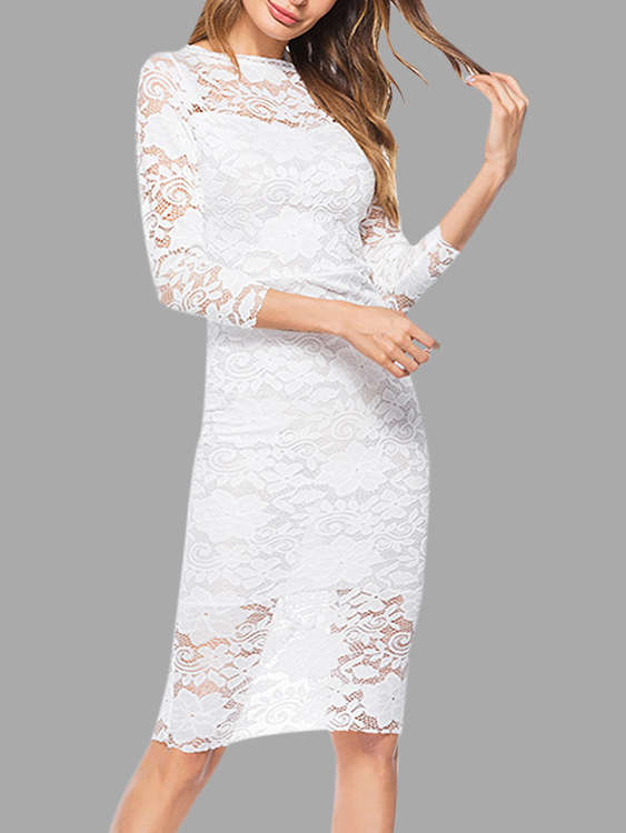White Lace Midi Dress With 3/4 Length Sleeves & Bateau
